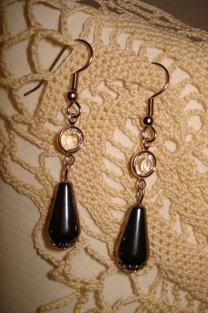 Orecchini con hematite e link swarovski crystal
