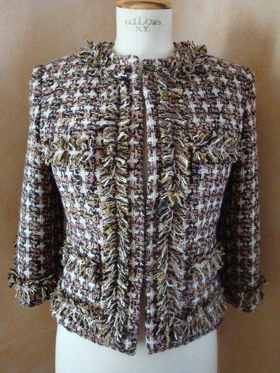 Giacca tg. 42 bouclè lana stella nocciola-rosa-avorio