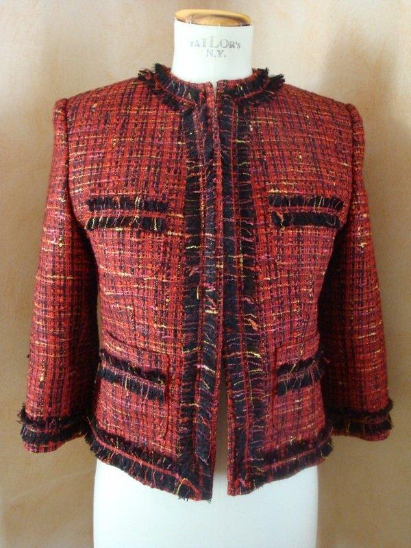 Giacca tg. 42 bouclè lana rosso-nero