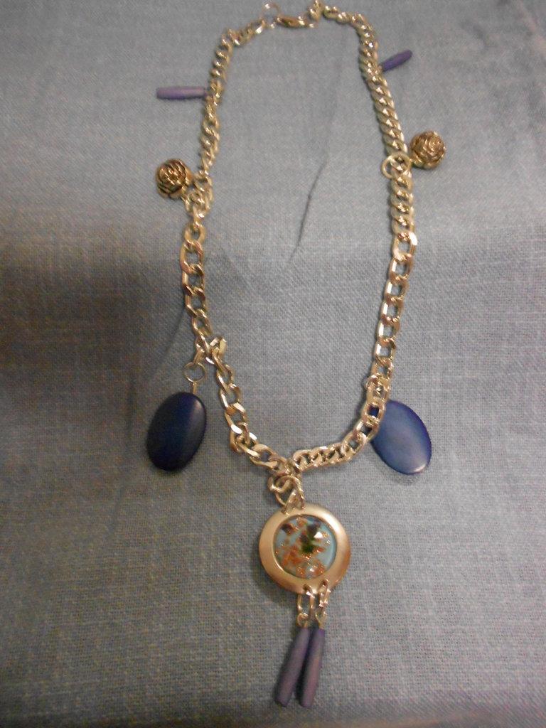 Collana perle indiane blu