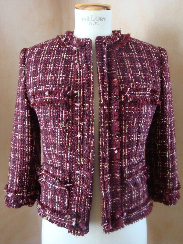 Giacca tg. 42 bouclè lana rosso bordoux