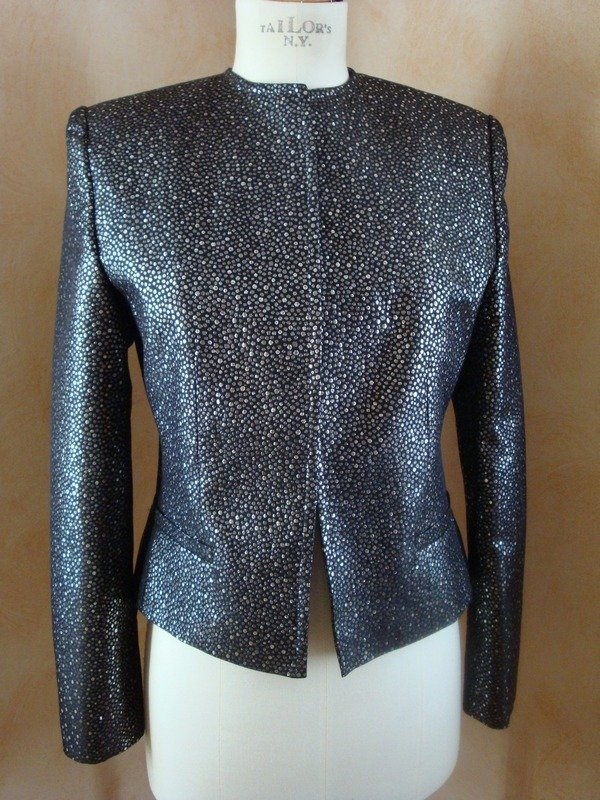 Giacca tg.42 seta nero-argento