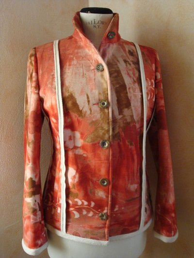 Giacca-Giubetto tg. 42 montone sintetico fantasia rosso
