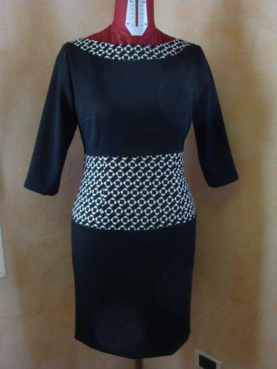 Vestito tg. 42 tubino 100% lana nero ed operato
