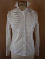 Camicia tg. 42 cotone poppelin bianco con pieghe