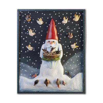 PANNELLO decorativo in bassorilievo Gnomo di neve