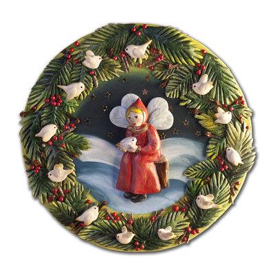 PANNELLO decorativo in bassorilievo fatina deegli uccellini