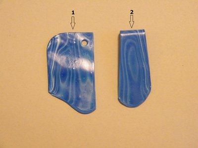 Ciondoli per collana in fimo con sfumature effetto legno nei toni dell'azzurro, del blu e acqua marina