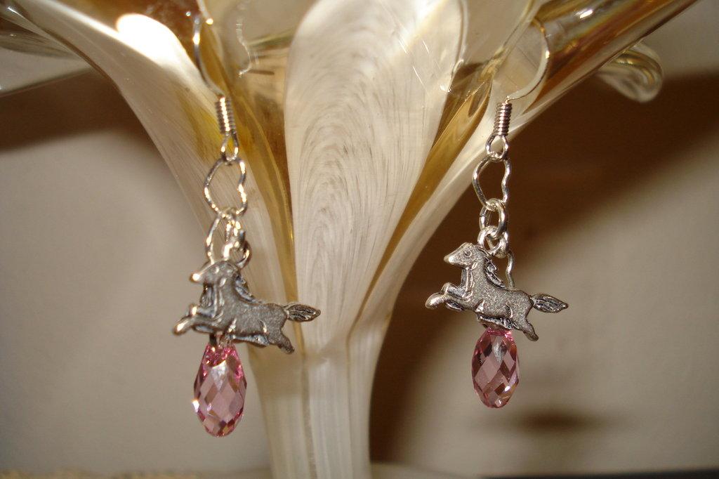 Orecchini con gocce swarovski pink e cavalli