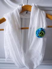 2 Spille Fiore Feltro e perle - Verde Mela e Turchese - Sciarpe, Cappelli, Vestiti