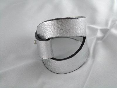 Bracciale pelle argento