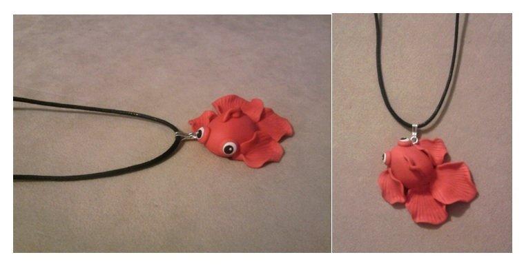 Collana con pesce rosso fimo
