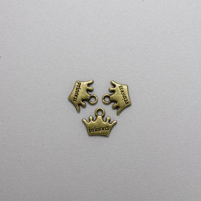 3 charm coroncine color bronzo antico