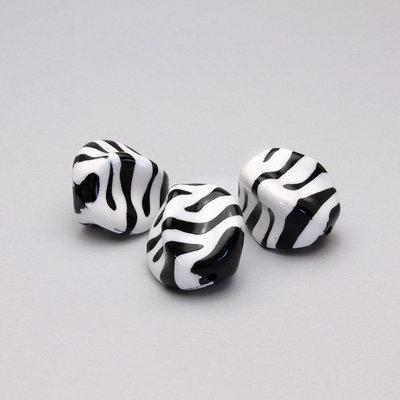 3 perle animalier/zebra in acrilico