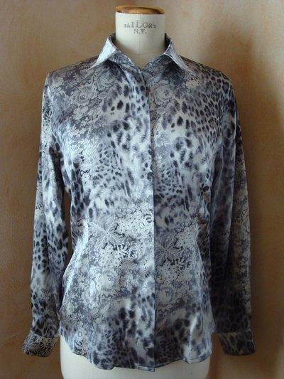 Camicia tg. 42 fantasia satin di seta grigio