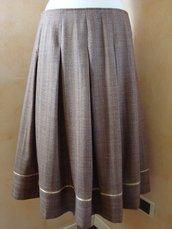 Gonna tg. 44 a pieghe lana marrone-nocciola con bordino
