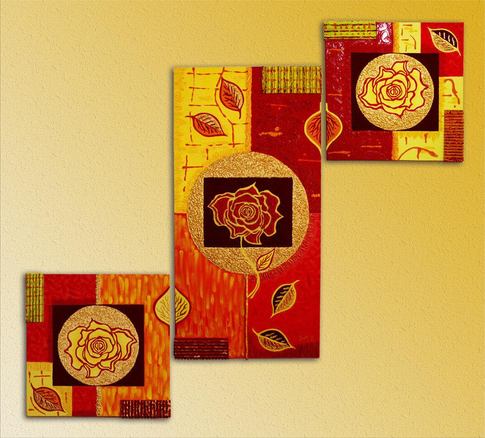 Quadro moderno composizione 3 tele dipinte a mano
