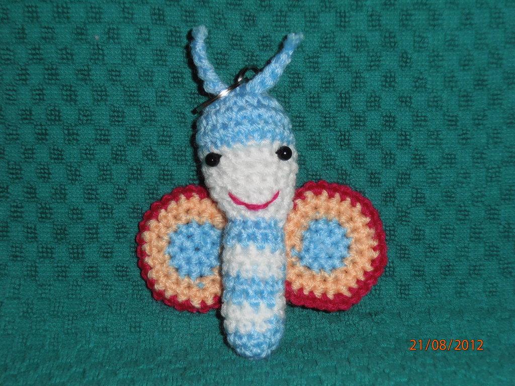 Amigurumi Farfalla Azzurra Portachiavi.