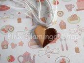 Collana organza e biscotto a cuore - kawaii - sweets - fimo