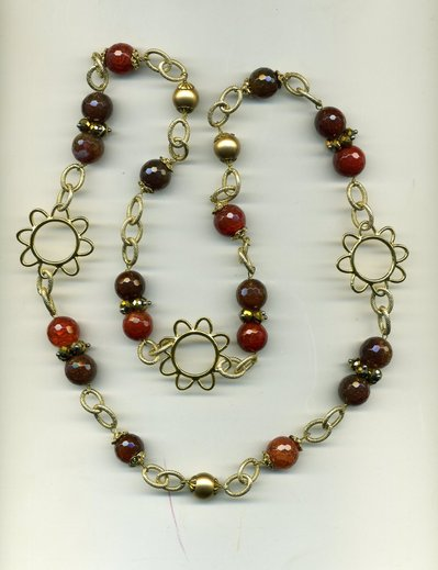 Collana a catena con agate marroni