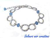 bracciale simbolo infinito  metallo cristalli azzurri wire