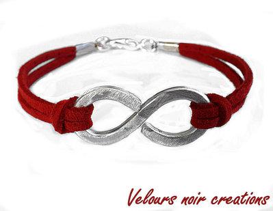 bracciale simbolo infinito metallo battuto a mano wire laccio suede rosso