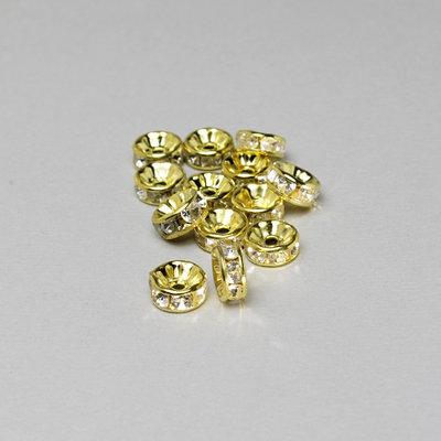 10 rondelle - distanziali strass color oro