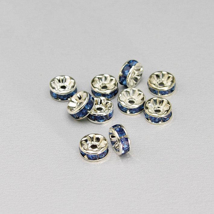 10 rondelle - distanziali strass blu