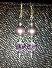Orecchini Swarovski e  perle lilla