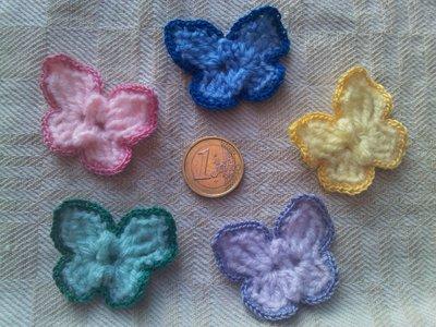 10 farfalline in lana in 5 colori pastello