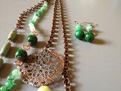 Collana 2 fili di giada verde e inserti rame - Verderame