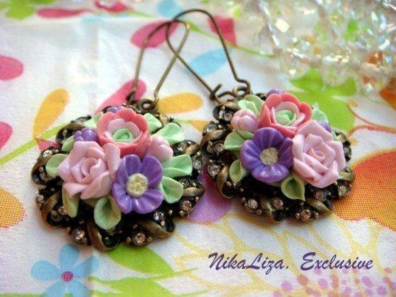 Orecchini delicate mazzi di rose