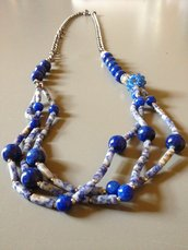 Collana di giada blu e catena rodiata - Blue mood