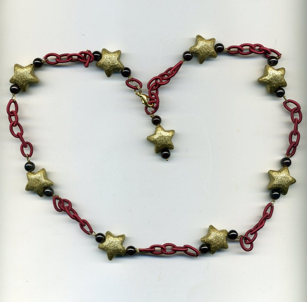Collana a catena in seta e stelline