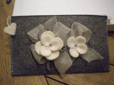 Pochette piatta grigio/avorio
