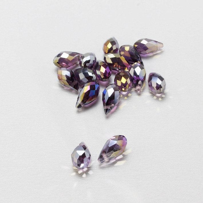 3 mezzi cristalli a goccia viola