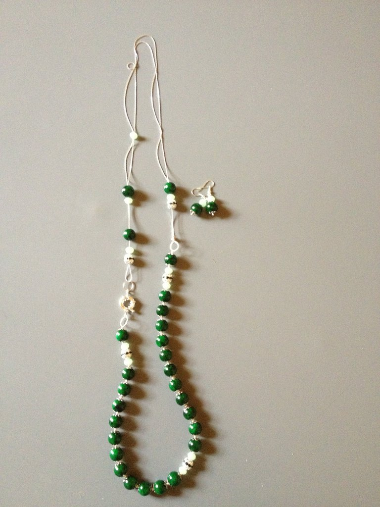 Collana di giada verde scura e argento - Greenlight