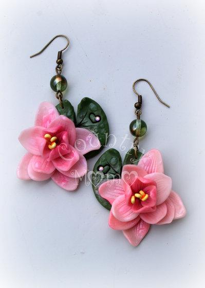 waterlily earrings- orecchini ninfea *