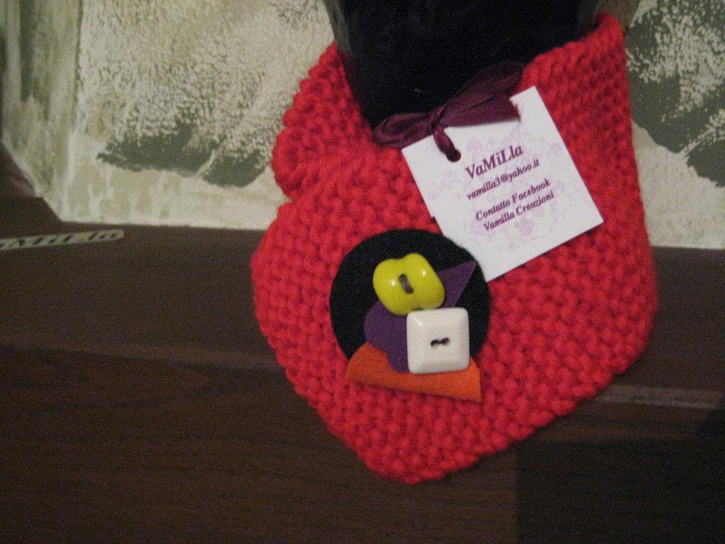 Scaldacollo lana rosso con spilla
