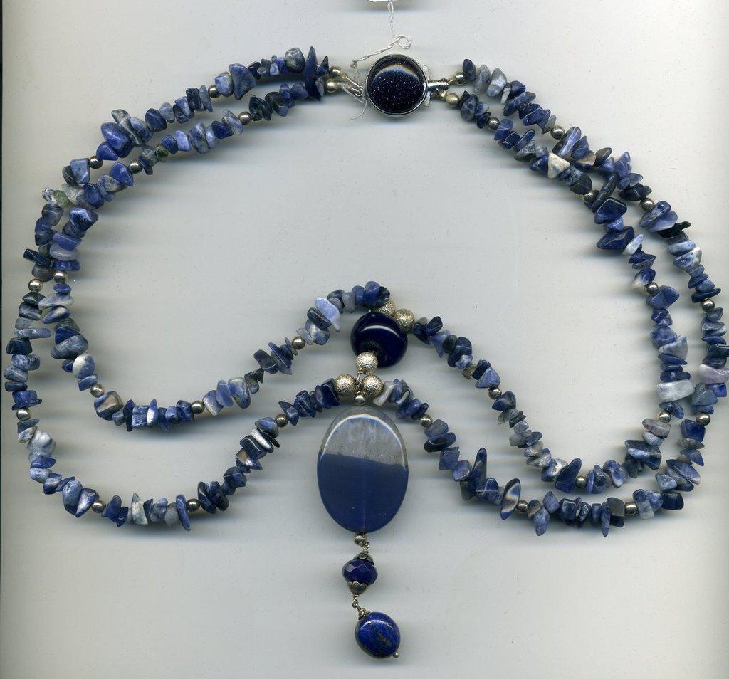 Collana in sodalite e agata blu