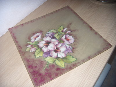 Piatto quadrato decorato a mano decoupage