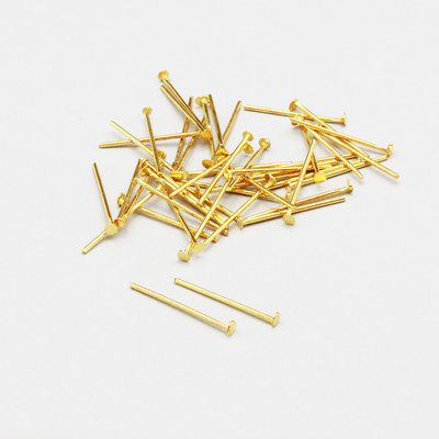 50 spilli - chiodini a T dorati 18mm