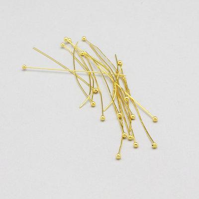 50 spilli - chiodini pallina dorati 40mm