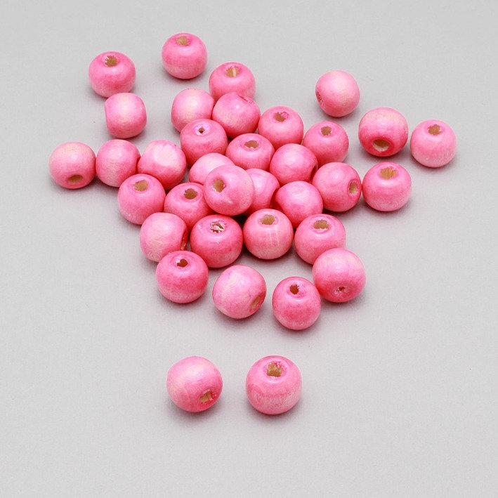 50 perline - spaziatori in legno rosa