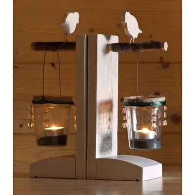 Portacandele da tavolo in legno con uccellino handmade - Portacandele da tavolo ...