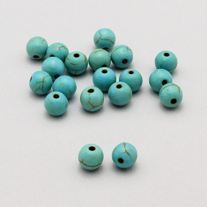 10 perle howlite / aulite turchese