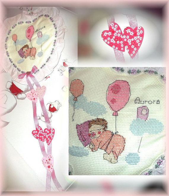 fiocco nascita a forma di cuore personalizzabile - birth bow heart shape customizable