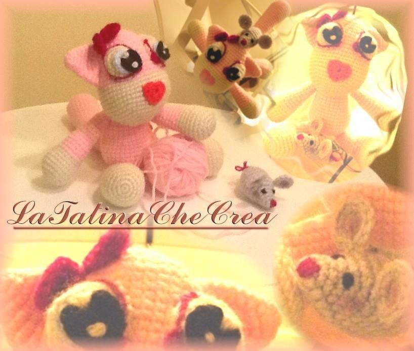 amigurumi gatta rosa  topolino-pink cat and mouse