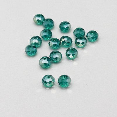 15 rondelle briolette cristallo verde