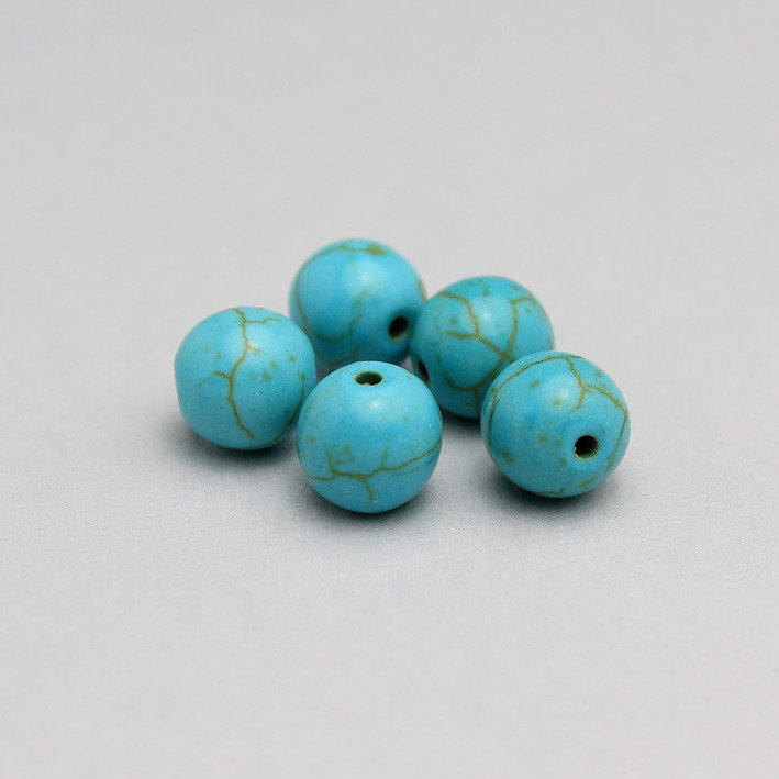 5 perle howlite / aulite color turchese